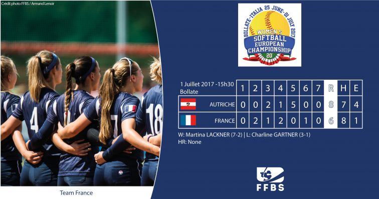 Euro Softball 2017 Boxscore FRA vs AUT 2