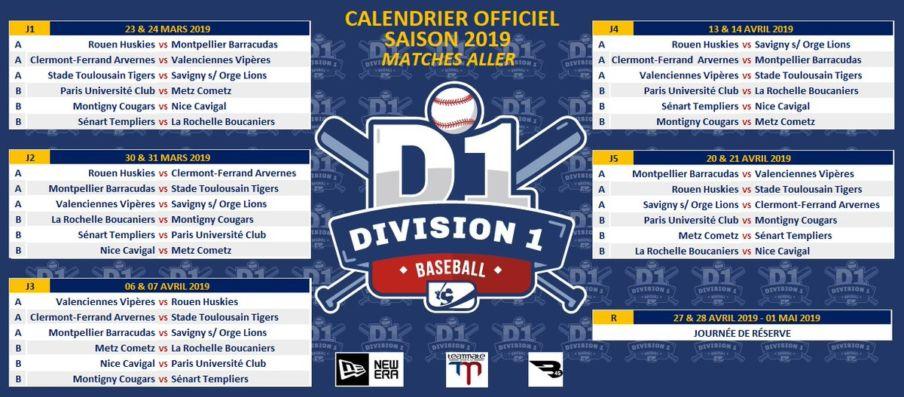 Calendrier Stade Toulousain 2019.Decouvrez Le Calendrier De La Division 1 Baseball 2019
